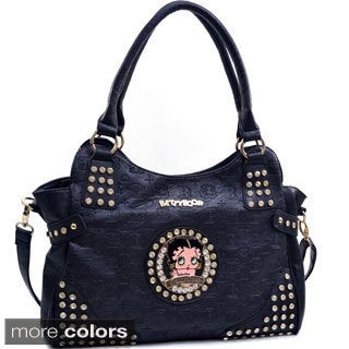 Betty Boop Hobo Bag with Etched Monogram Design and Rhinestones