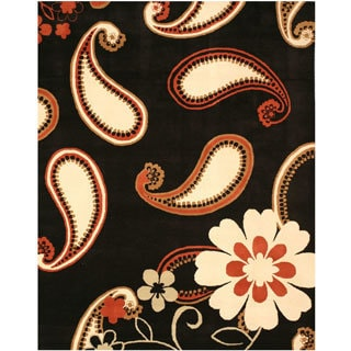 EORC Hand Tufted Wool Black Daisy Rug (7'9 x 9'9)