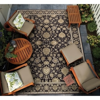 Dolce Pompano/ Black-Beige Power Loomed Area Rug (8'1 x 11'2)