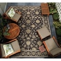 Dolce Pompano/ Black-Beige Power Loomed Area Rug (4' x 5'10)