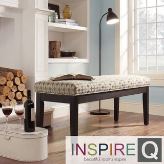Inspire Q Miyagi Geometric Fabric Cushioned 52-inch Bench