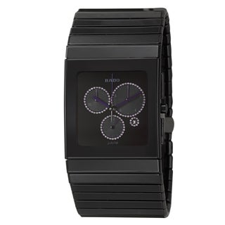 Rado Men's 'Ceramica Chronograph' Ceramic Watch with Purple Hands