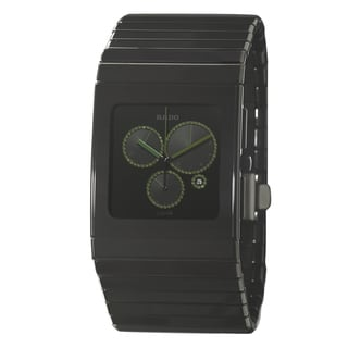 Rado Men's 'Ceramica Chronograph' Ceramic Watch with Green Hands