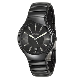 Rado Men's 'Rado True' Black Ceramic Quartz Watch
