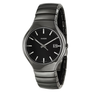 Rado Men's 'Rado True' Ceramic Quartz Watch with Black Dial