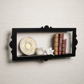 Scalloped Metal Rectangular Floating Shelf - Black