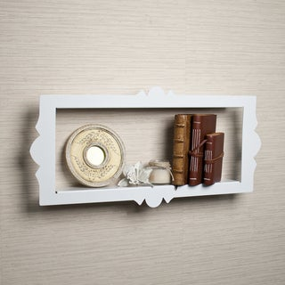 Scalloped Metal Rectangular Floating Shelf - White
