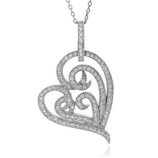 Journee Collection Cubic Zirconia Heart Necklace