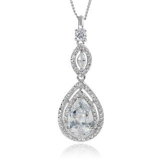 Journee Collection Cubic Zirconia Teardrop Necklace