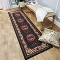 Medallion Traditional Black 1 foot 10 inches x 6' feet Runner Rug Ephesus Collection