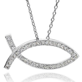 Journee Collection Cubic Zirconia Christian Fish Necklace