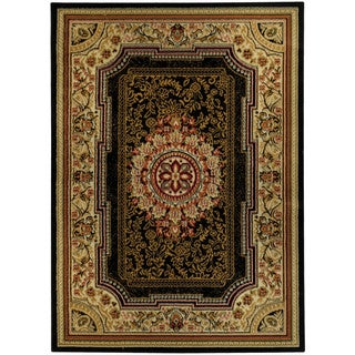 Ephesus Collection Medallion Traditional Black Area Rug (3'3 x 4'7)
