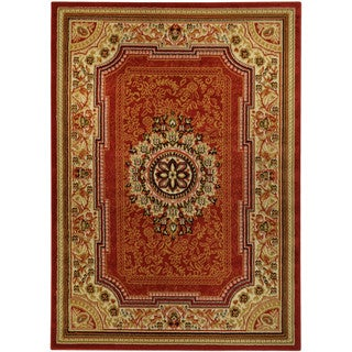 Medallion Traditional Red Area Rug (4'10 x 6'10)
