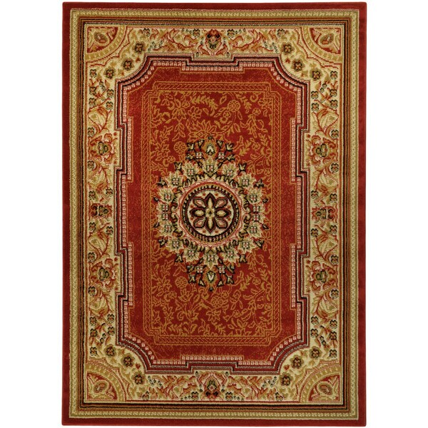 Medallion Traditional Red Area Rug (8'2 x 9'10)