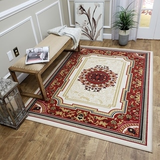 Medallion Traditional Ivory Area Rug (3'3 x 4'7)