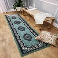 "Medallion Traditional Sage Green 1'10"" x 6'10"" Runner Rug Ephesus Collection"