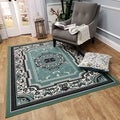 "Medallion Traditional Sage Green 8'2"" x 9'10"" Area Rug Ephesus Collection"