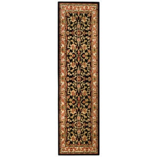 Floral Garden Traditional Black Runner Rug (1'10 x 6'10)