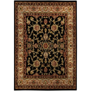 Floral Garden Traditional Black Area Rug (4'10 x 6'10)