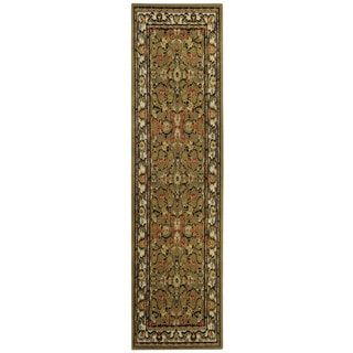 Floral Garden Traditional Sage Green Runner Rug (1'10 x 6'10)
