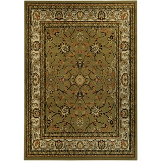 Floral Garden Traditional Sage Green Area Rug (3'3 x 4'7)