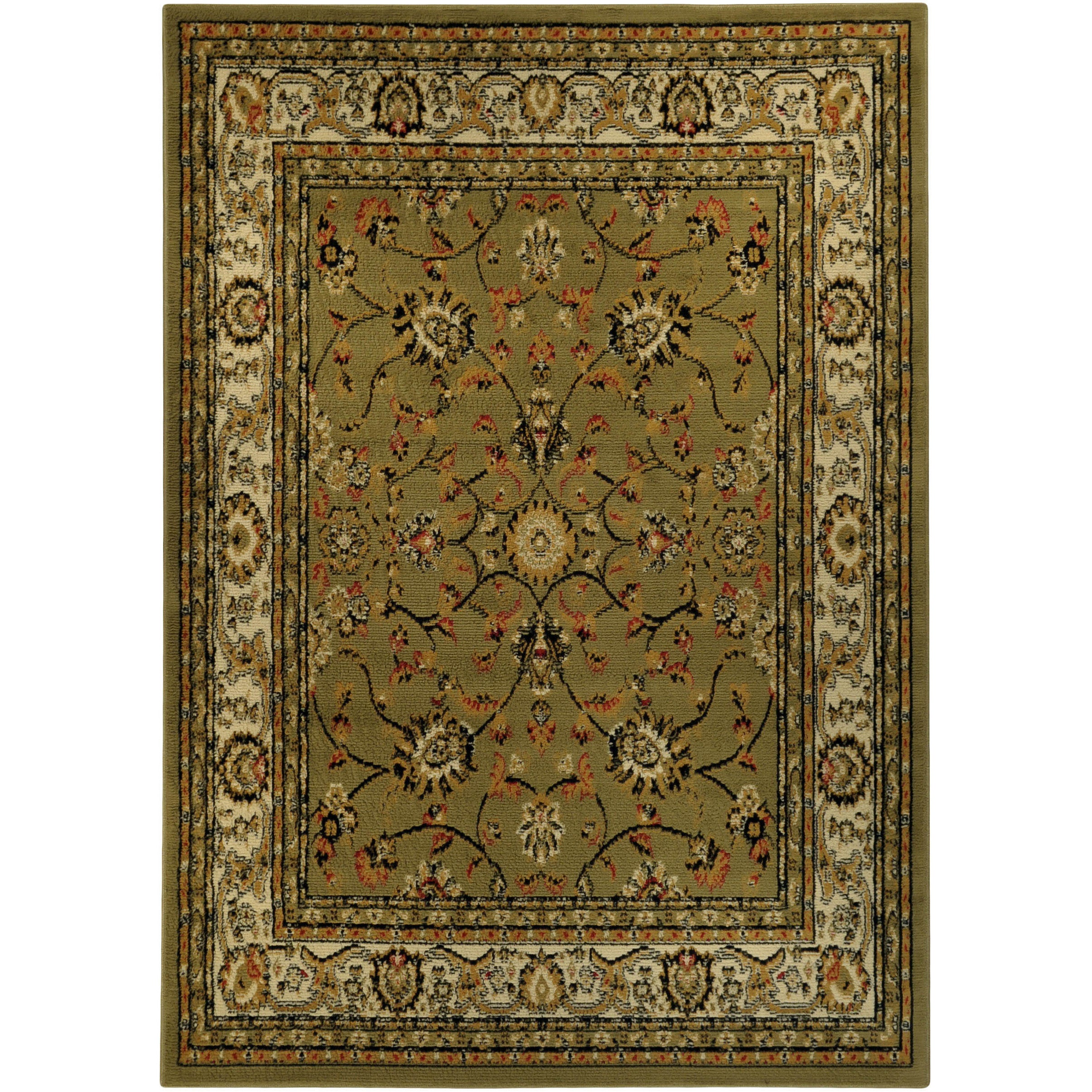 Discount 8x11 Area Rugs: Floral Garden Traditional Sage Green Area Rug (8'2 X 9'10