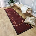Ephesus Collection Red Tribal Filigree Contemporary Runner Rug (1'10 x 6'10)