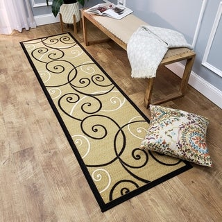 Ephesus Collection Ivory Tribal Filigree Contemporary Runner Rug (1'10 x 6'10)