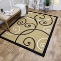 "Ivory Tribal Filigree Contemporary 3'3"" x 4'7"" Area Rug Ephesus Collection"