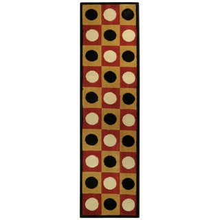 Ephesus Collection Geometric Boxes Dots Contemporary Runner Rug (1'10 x 6'10)