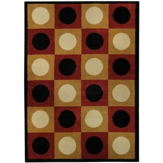 Ephesus Collection Geometric Boxes Dots Contemporary Area Rug (4'10 x 6'10)
