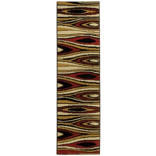 Ephesus Collection Multicolor Tree Wave Contemporary Runner Rug (1'10 x 6'10)