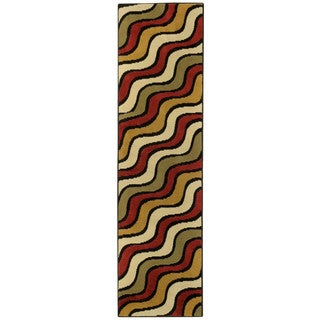 Ephesus Collection Multicolor Waves Contemporary Runner Rug (1'10 x 6'10)