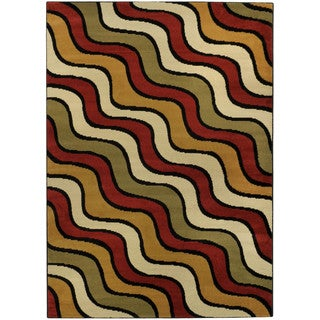 Ephesus Collection Multicolor Waves Contemporary Area Rug (3'3 x 4'7)