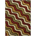 "Multicolor Waves Contemporary 4'10"" x 6'10"" Area Rug Ephesus Collection"