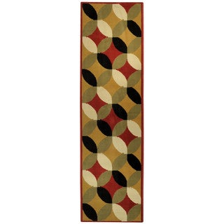 Ephesus Collection Multicolor Glass Print Contemporary Runner Rug (1'10 x 6'10)
