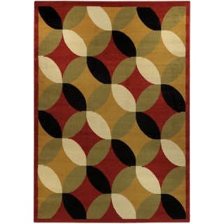 Ephesus Collection Multicolor Glass Print Contemporary Area Rug (4'10 x 6'10)
