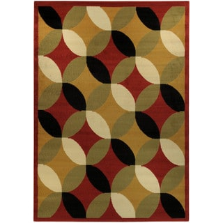 "Multicolor Glass Print Contemporary 8'2"" x 9'10"" Area Rug Ephesus Collection"