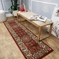Pasha Collection Medallion Traditional Red Runner Rug (2'7 x 10)