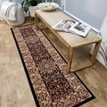 "Medallion Traditional Black 1'11"" x 6'11"" Runner Rug Pasha Collection"