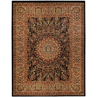 Pasha Collection Medallion Traditional Black Area Rug (5'3 x 6'11)