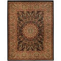 Pasha Collection Medallion Traditional Black Area Rug (7'10 x 10'6)
