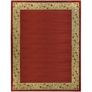 Pasha Collection Solid French Border Red Ivory 5'3 x 6'11 Area Rug