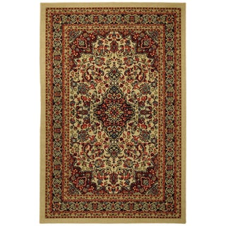 Rubber Back Ivory Traditional Floral Non-Skid Area Rug 5 feet x 6 feet 6 inches