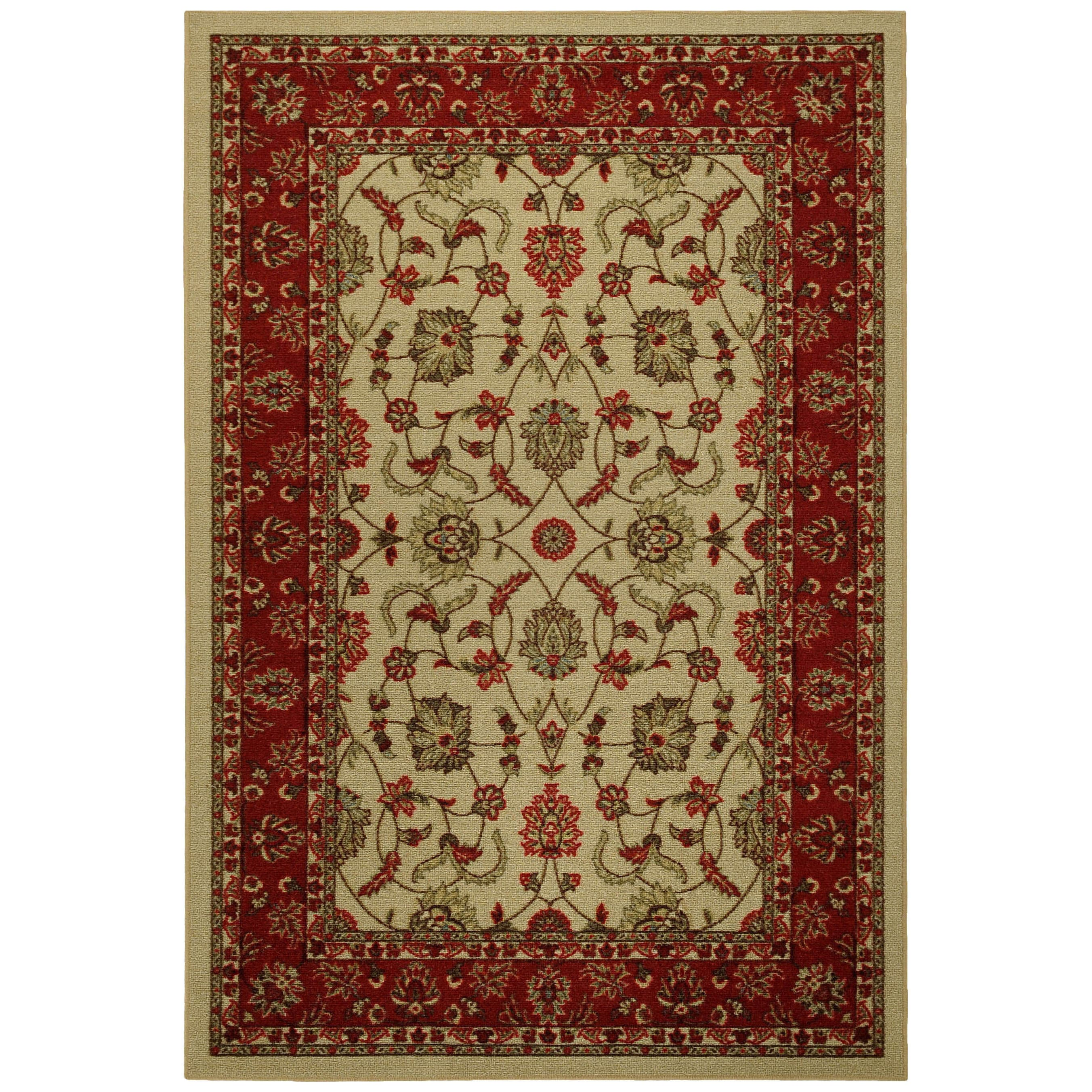 Rubber Back Ivory Traditional Floral Non-Skid Area Rug (5' x 6'6) at Sears.com
