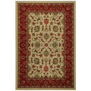 Rubber Back Ivory Traditional Floral Non-Skid Area Rug 5' x 6'6""