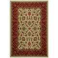Rubber Back Ivory Traditional Floral Non-Skid Area Rug (5' x 6'6)