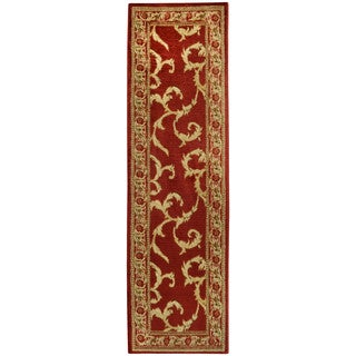 Pasha Collection Floral Traditional Red Ivory Runner Rug (2'7 x 10)