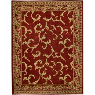 Pasha Collection Floral Traditional Red Ivory Area Rug (5'3 x 6'11)