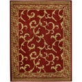 "Floral Traditional Red Ivory 5'3"" x 6'11"" Area Rug Pasha Collection"
